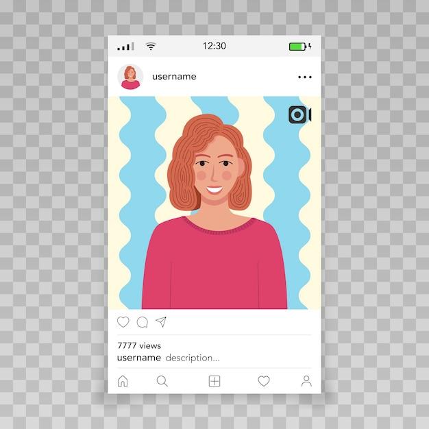 Instagram 템플릿으로 비디오 프레임 여성 아이콘 프리미엄 벡터