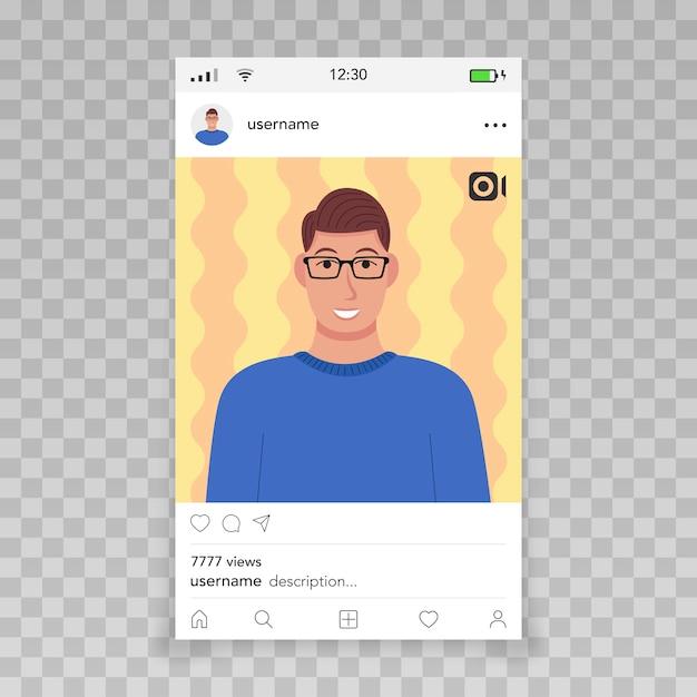 Instagram 템플릿으로 비디오 프레임 남성 아이콘 프리미엄 벡터