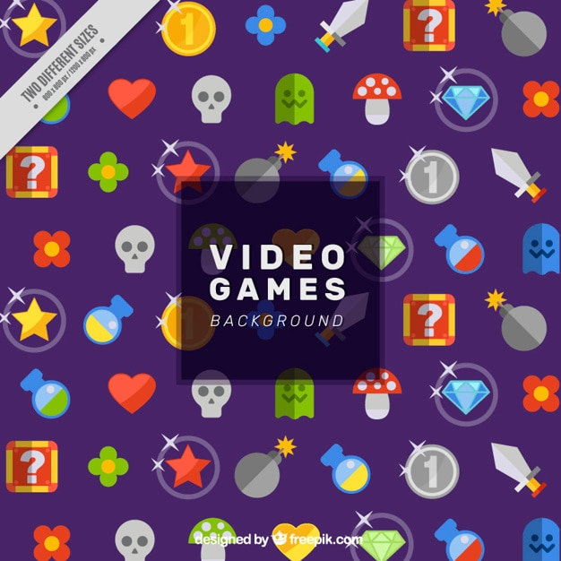 Video game background with colorful elements Free Vector