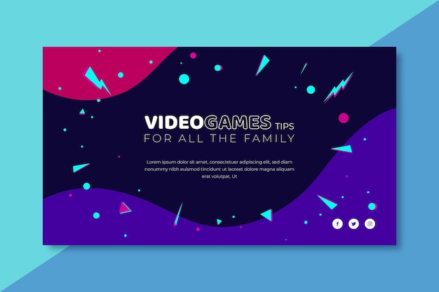 Video game banner blog template Free Vector