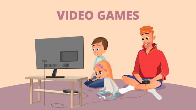 Video game banner cartoon father son daughter play Premium Vector