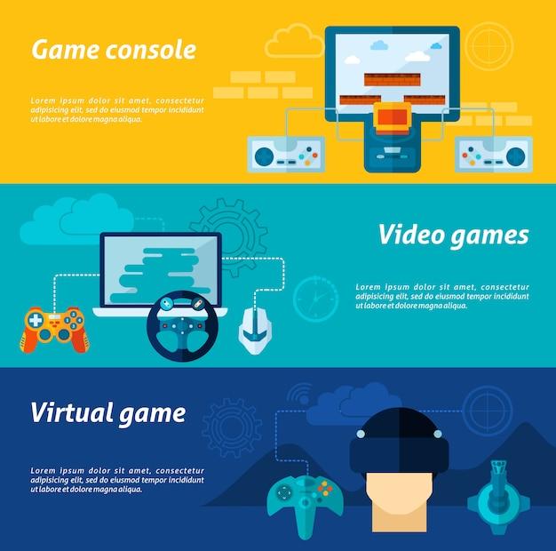 Video game banner set Premium Vector