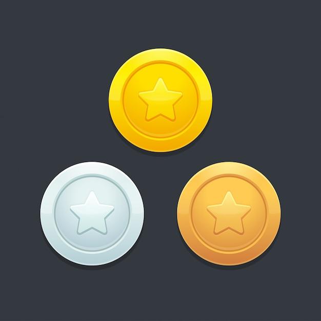 Video game coins set Premium Vector