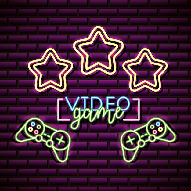 Video game design with stars over brick wall, neon style Free Vector