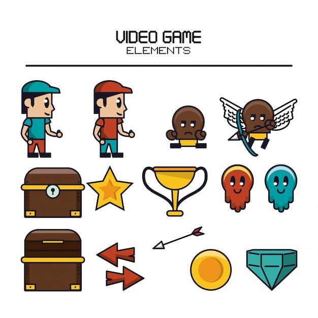 Video game elements Premium Vector