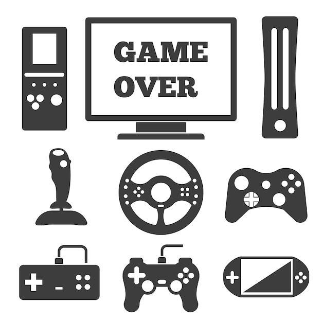 Insieme di elementi divertenti del videogioco. Vettore gratuito