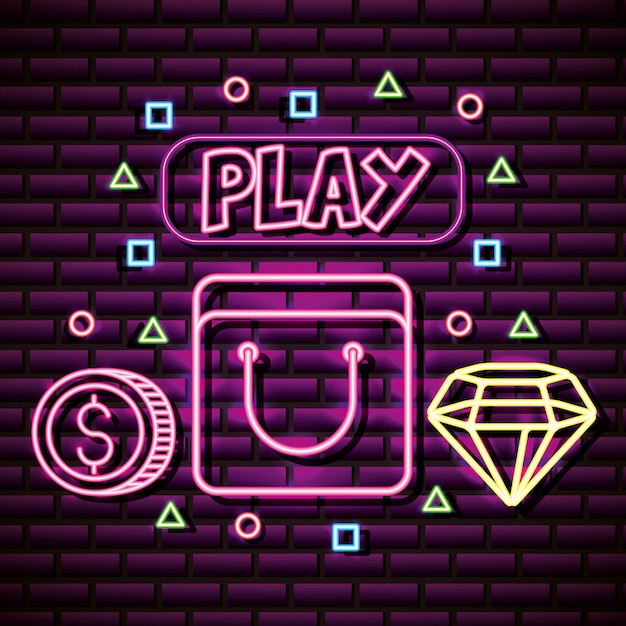 Video game graphic resources brick wall, neon style Free Vector
