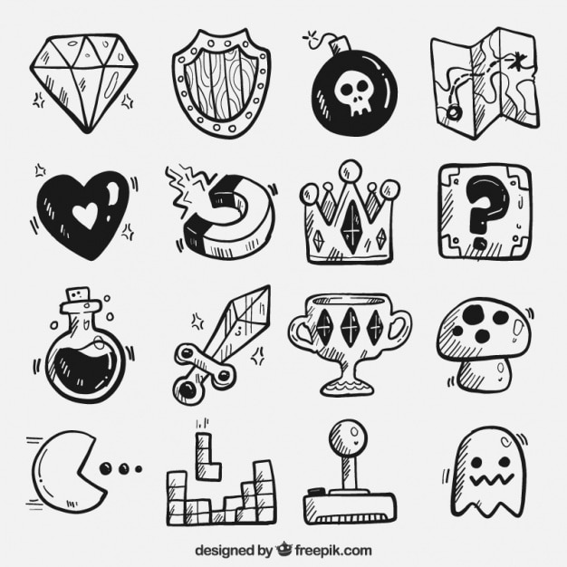 Video game hand drawn objects Free Vector