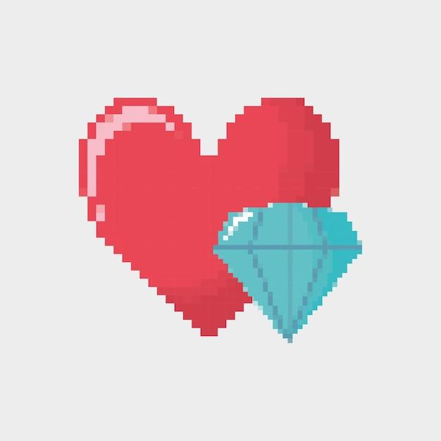 Video game heart and diamond icon Premium Vector