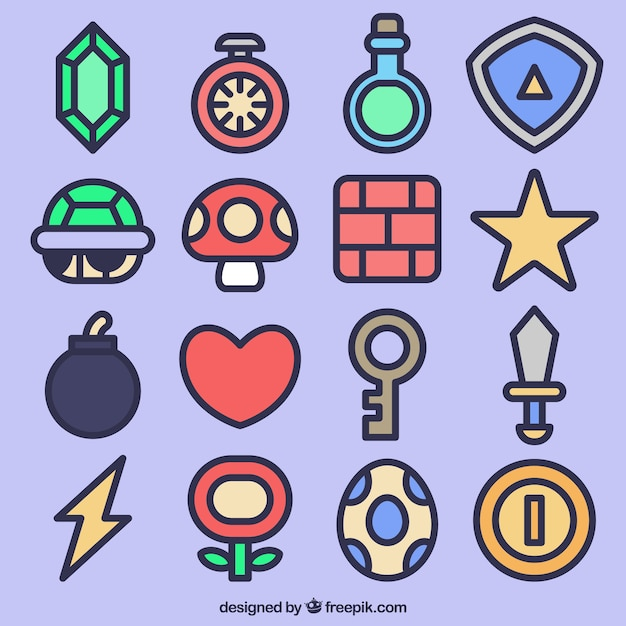 Video Game Icon Collection Vector Free Download