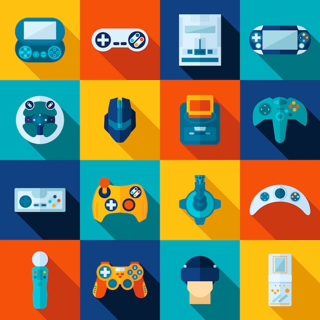 Video game icons set Free Vector