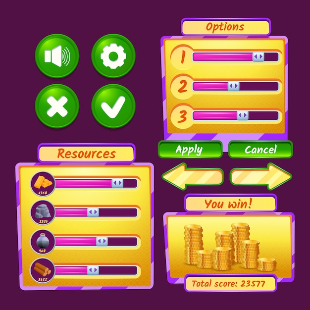Video game interface icons set with progress bars and buttons Free Vector