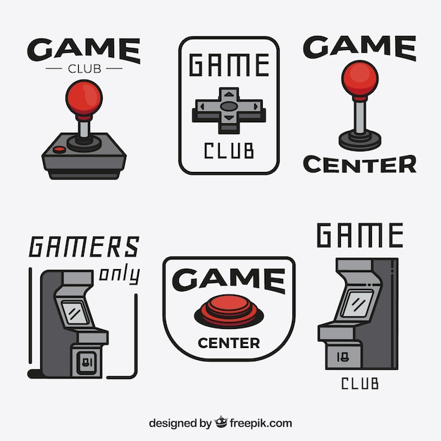 Коллекция логотипа видеоигр с плоским дизайном Бесплатные векторы