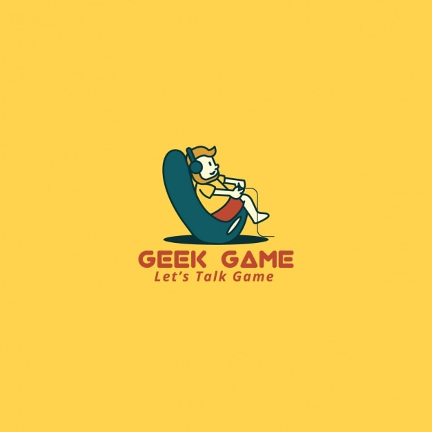 Video game logo on a yellow background Free Vector