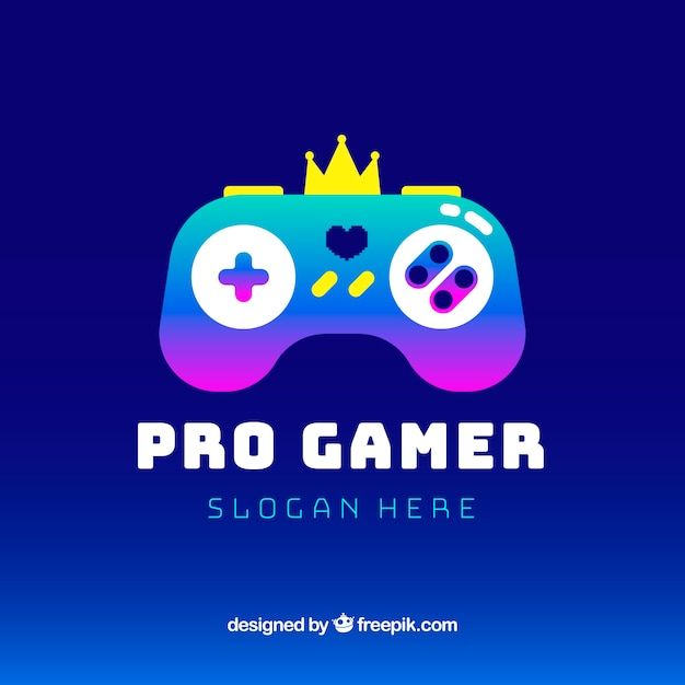 Video game logo template with joystick Free Vector