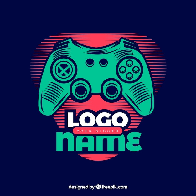 Video game logo template with retro style Free Vector