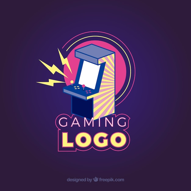 Шаблон логотипа видеоигры с ретро-стилем Premium векторы