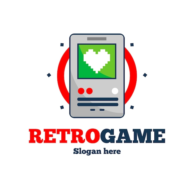 Video game logo template with retro style Premium Vector