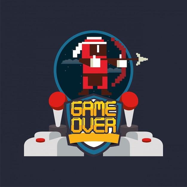 ビデオゲームのピクセル化されたジョイスティックコントロールとアーチェリーの戦士 Premiumベクター