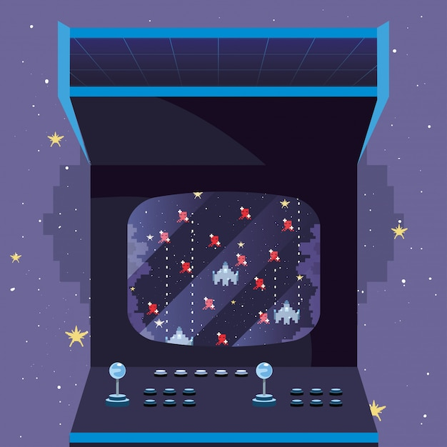 Video game retro ilustration Premium Vector