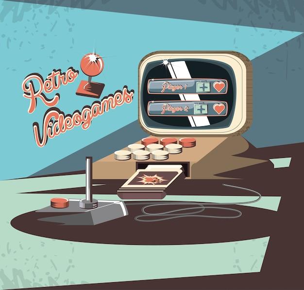 Video game retro with computer vector illustration design