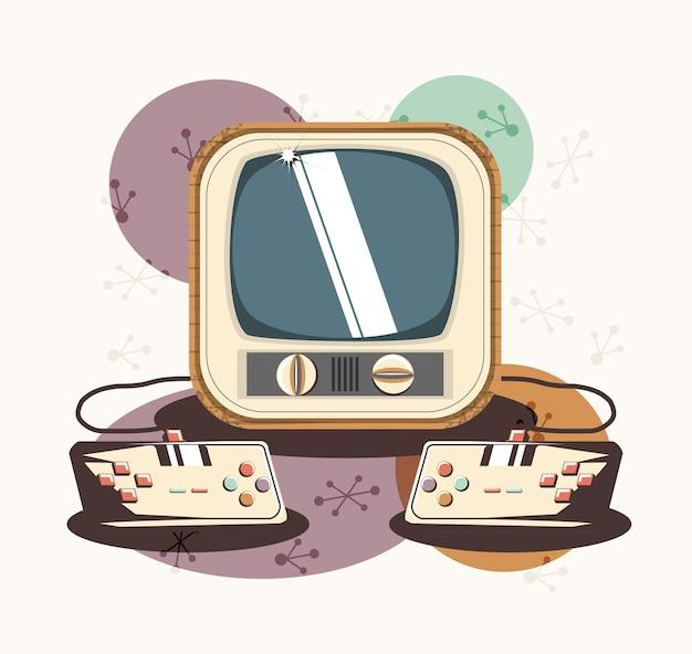 video game retro with tv vector illustration design premium vector
