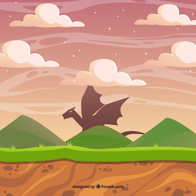 Video game scene with a dragon Free Vector