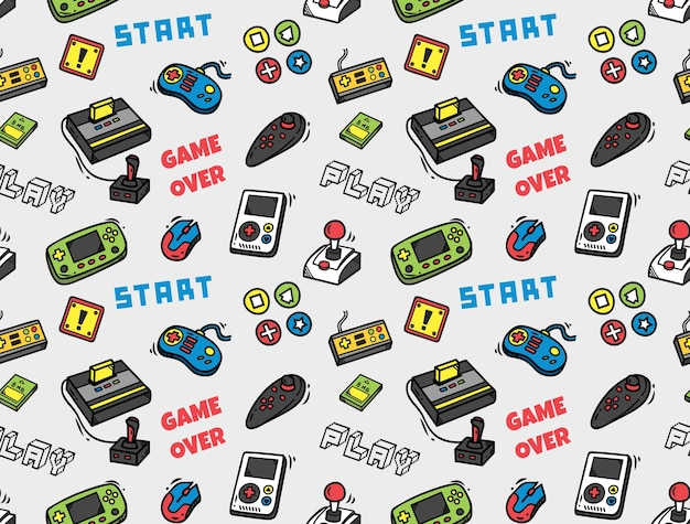 Video game seamless background Premium Vector