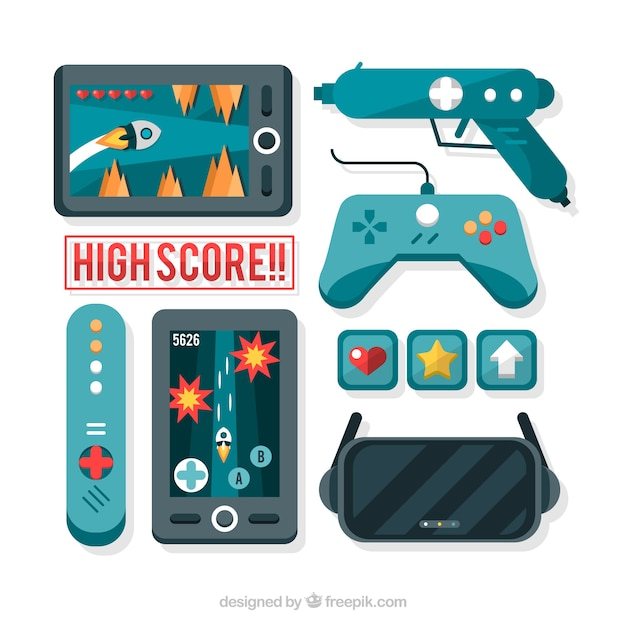 Video Games And Controllers In Flat Design Free Vector