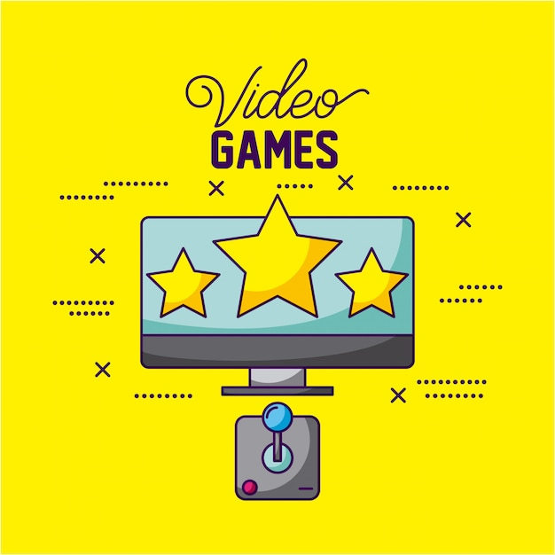 Video games design a tv with three stars and a control illustration Free Vector