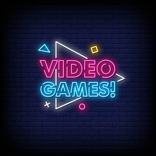 Video games neon signs style text vector Premium Vector