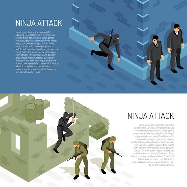 Il guerriero del carattere del ninja dei videogiochi attacca i soldati e gli agenti civili, illustrazione isometrica orizzontale di vettore delle insegne Vettore gratuito