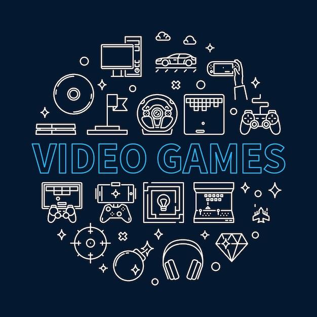 Видеоигры вокруг контура иллюстрации Premium векторы