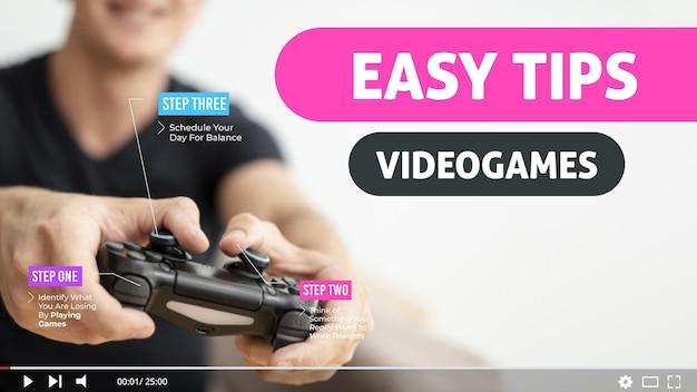 ビデオゲームvlogger youtubeサムネイルテンプレート 無料ベクター
