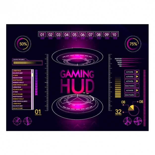 Video gaming interface in purple tones Vector | Premium Download