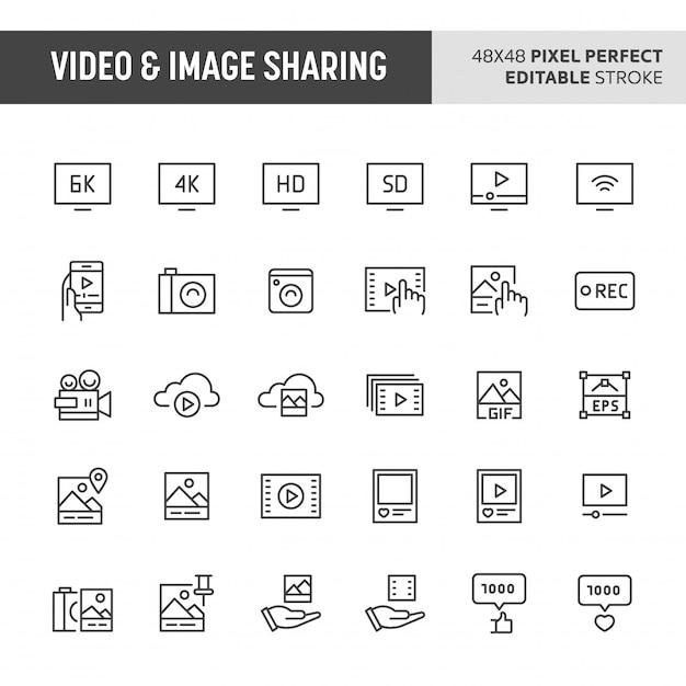 Video & image sharing icon set Premium Vector