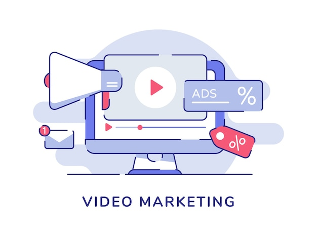 Video marketing concept video icon megaphone on display computer screen with flat outline style Premium Vector