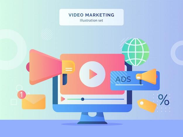 Video marketing illustration set video playing icon on display monitor computer Premium Vector