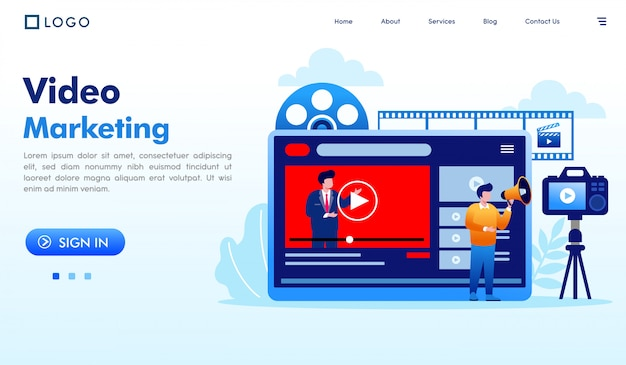 Video marketing landing page website illustration vector Premium Vector