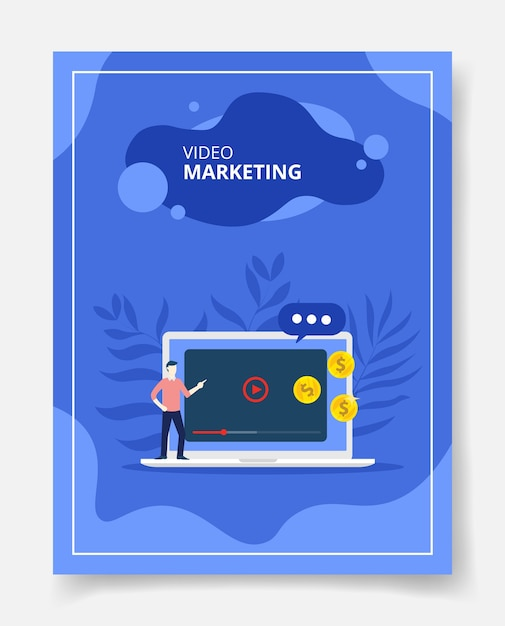 Video marketing men present on laptop Premium Vector