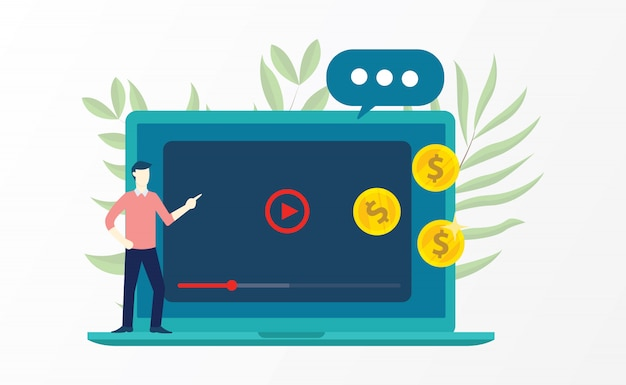 Video marketing w Premium Vector
