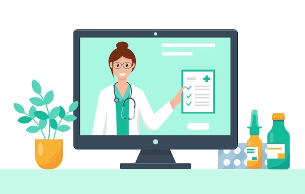 Video medical consultation, support or conference on the computer screen. online doctor concept.    illustation. Premium Vector