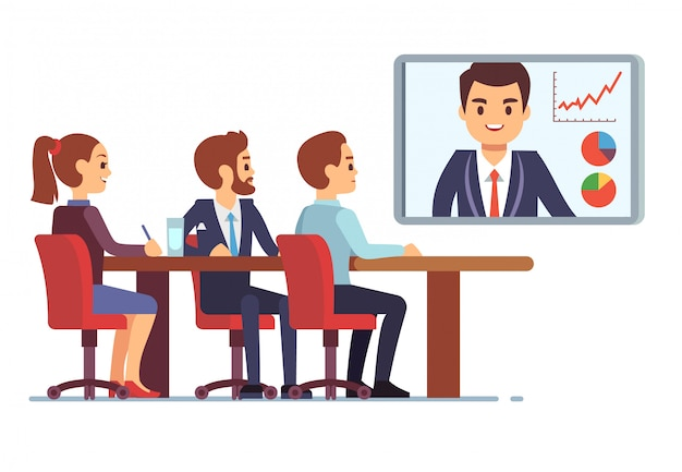 Video meeting in office boardroom with ceo and employees. business teamwork and digital online communication vector concept Premium Vector