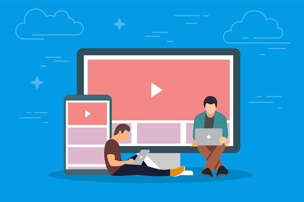 デバイスの概念図のビデオ。タブレットpcやスマートフォンなどのモバイルガジェットを使用してインターネットでビデオを視聴する若者 Premiumベクター