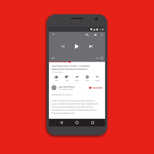 Video player application template Premium Vector