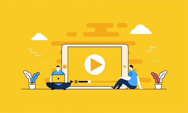 Video player banner Premium Vector