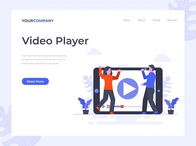 Video player landing page Premium Vector