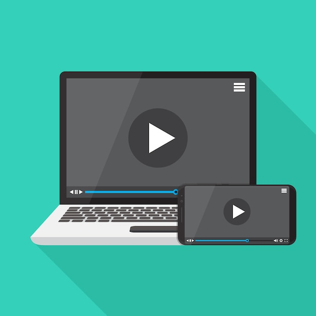 Video player on smart phone and laptop Vector | Premium Download