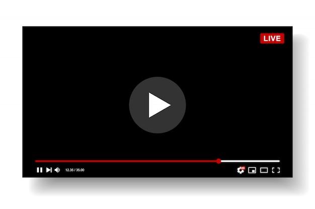 Видеоплеер шаблонов дизайна. макет живого потока, окно проигрывателя. концепция социальных медиа. Premium векторы