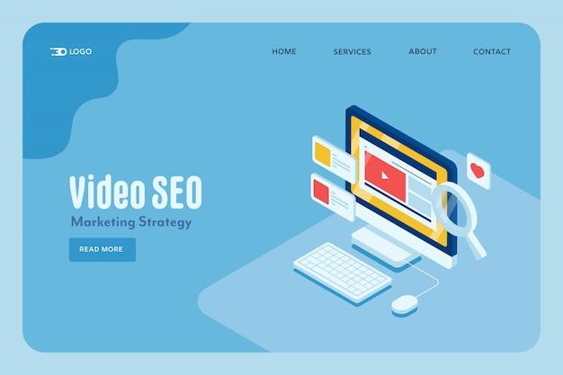 Video seo marketing concept Premium Vector